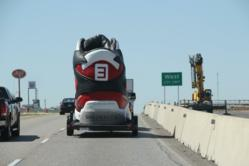 Shoebacca and The Big Shoe heading with thousands of shoes and supplies to aid the victims of the West, Texas explosion.