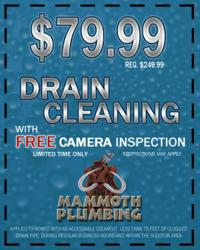 Drain Cleaning Special Mammoth Plumbing Houston TX