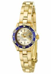 Invicta Women's Pro Diver Light Gold Dial 18k Gold Plated