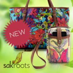 Image of a Sakroots bag and Sakroot Wristle accompanied by a Sakroots logo.