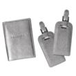 Metallic Silver Luggage Tags & Passport Holder Set
