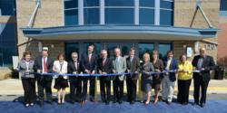 Representatives from Bucknell University and Geisinger Health System cut the ribbon on the new Autism and Developmental Medicine Center