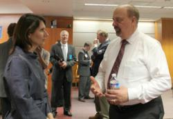 Rosco's Dave McDonald and National Safety Board Chairman Deborah Hersman at the Distracted Driving Technology Showcase on April 19th.