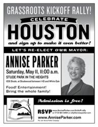 Houston Mayor Annise Parker kicks off her 2013 re-election campaign on Saturday, May 11.
