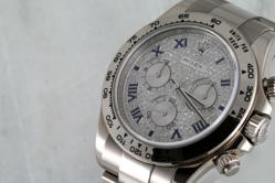 Mens Rolex White Gold Pave Dial Daytona at Time and Gems