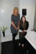 Shannen Marshall and Michelle in Shannen's winning bathroom design, built full size in our Burnley Showroom