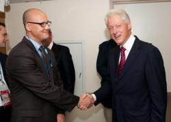 Corporate Security Law attorney Miguel R. San Jose, Esq. CPP with former President Bill Clinton