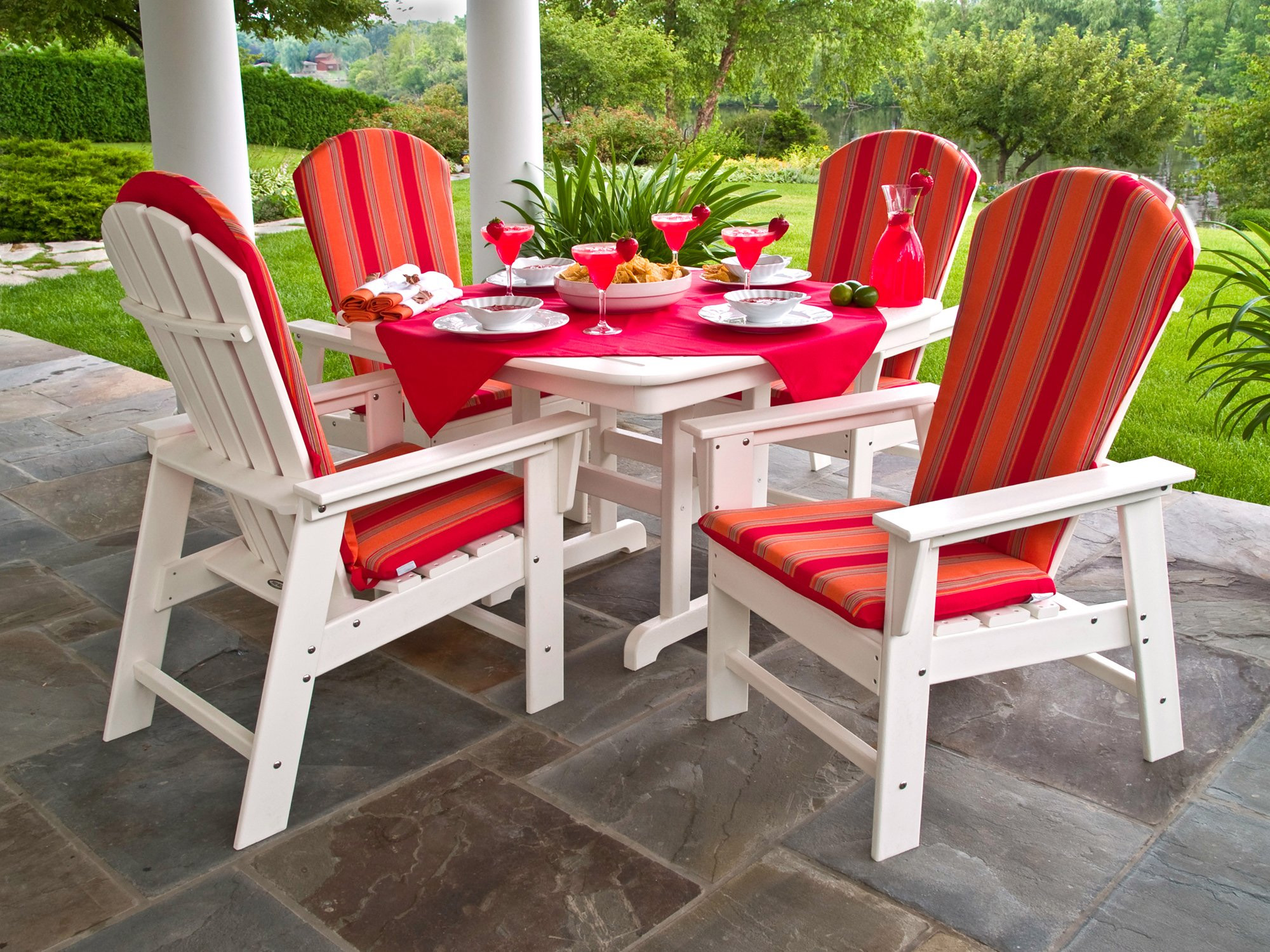 Recycled Plastic South Beach Dining Set With Sunbrella Cushions Leeward Sling Outdoor