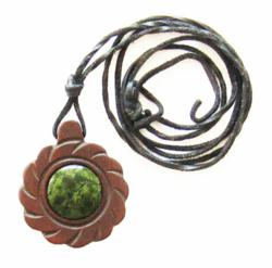 Cedar Wood Amulet - Flower of Sun with listvenite