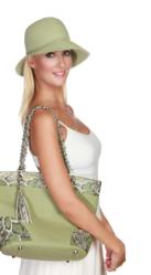 Straw Sun Hat with Matching beach bag and leather detailing
