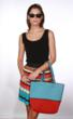 Red and Turquoise Waterproof Beach Tote Bag Colorblocking