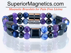 Magnetic bracelet with Amethyst and Sodalite gemstones