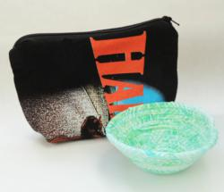 Itty Bitty Bowls and Recycled Motorcycle Tee Shirt Zip Bags by Pieceful Design