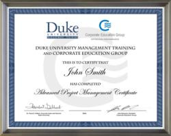 Sample certificate from a joint certificate program