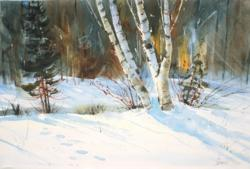 Footsteps and Birch by Gord Jones, Canadian Watercolour Artist
