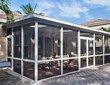 This Venetian Builders, Inc., screened patio cover is engineered for later conversion to a sunroom if the homeowner wishes.