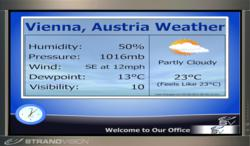 International Weather is now available from StrandVision as a Free Digital Signage Option for all digital signage users