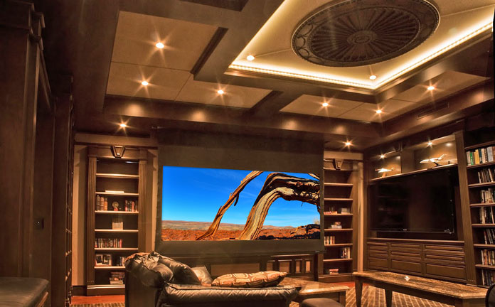 Upscale Library Converts To Stunning Home Theater At The