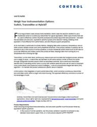 SOR Inc. White Paper, Weigh Your Instrumentation Options, Switch, Transmitter or Hybrid?