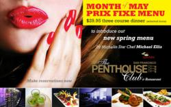 Penthouse May Prix Fixe Menu
