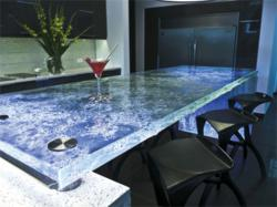Glass countertop with Glass side panel