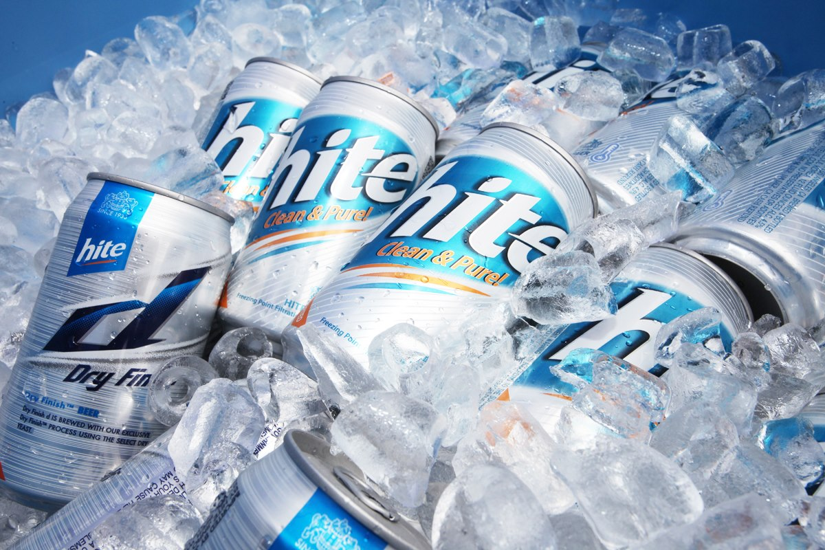 Ice cold Hite Beer is refreshing and satisfying.
