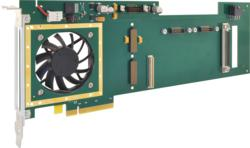 APCe8675 card routes power and PCIe bus signals to an XMC mezzanine module for high-performance signal processing
