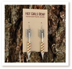 Bronze Arrow Checkered Peyote Glass Earrings by Hot Girls Bead