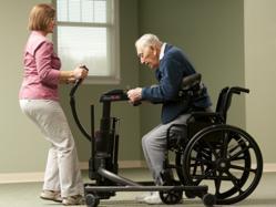 Sit-to-stand lift gait trainer