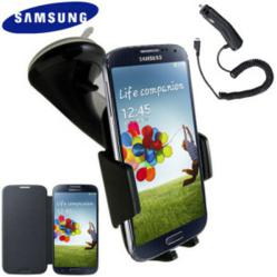 Genuine Samsung Galaxy S4 Case, Car Holder and Charger Pack