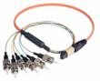 L-com's new MPO fiber optic cable assemblies showing a fan-out style