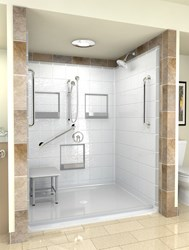 Handicap shower stall with padded seat