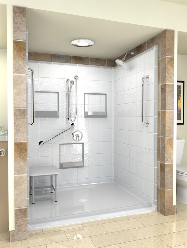 Wheelchair Access Shower With A Seat
