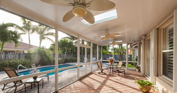 Lovely A Screened Patio Cover By Venetian Builders, Inc., Miami. The Roof Panels  Carry Power To Fans And Lights.
