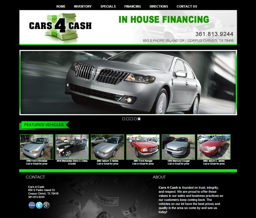 new dealership website for cars 4 cash built by. Black Bedroom Furniture Sets. Home Design Ideas