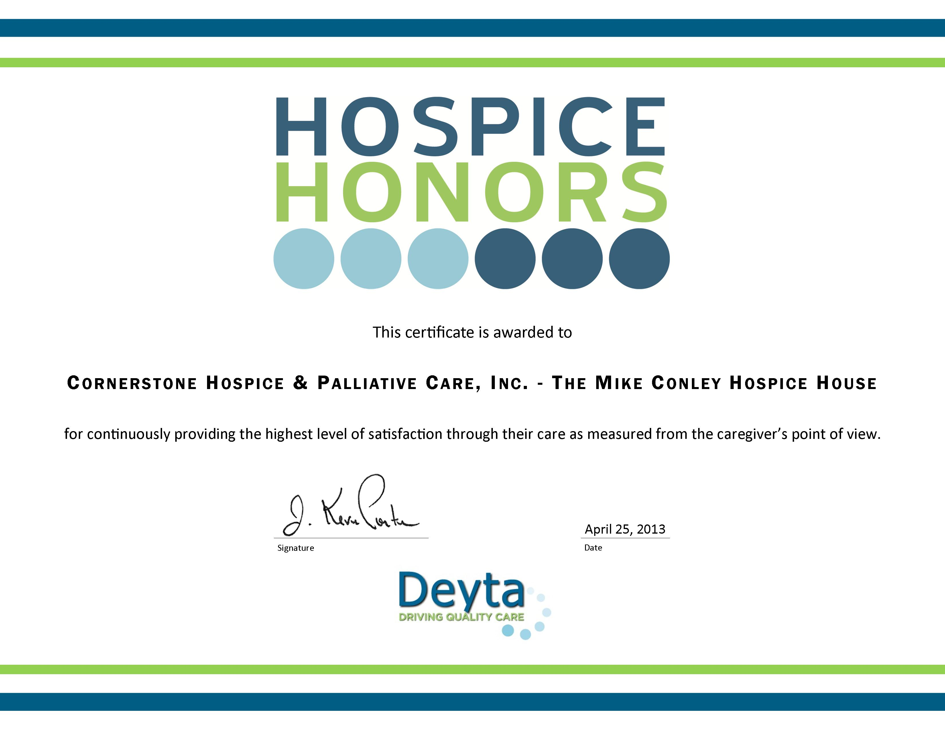 Cornerstone hospice named as 2013 hospice honors recipient the mike conley hospice house in clermont was specifically noted for providing excellent patient care as part of deytas survey of hospice providers 1betcityfo Choice Image