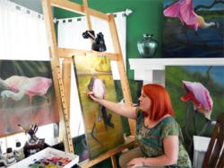 Allison Richter Painting Roseate Spoonbills  in Her Studio