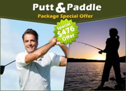 The Putt and Paddle special features a round of golf at the Classic Club and a free boat rental.