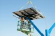 Solar design:  Solar panels are installed on top of 20 feet tall structures designed by Spotlight Solar