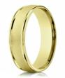 Designer 14K Yellow Gold Men's Wedding Band with Sand Blasted Finish