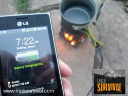 INCH Survival charging an LG smartphone with the PowerPot V.