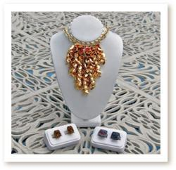 Handcrafted Bib Necklace with Golden Leaves, Freshwater Pearls and Pink Swarovski Crystals by Alexis Gopal Jewelry