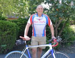 Charlie Finkel, Angel Flight West volunteer pilot, and bike