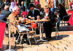 Older couple at cafe