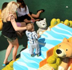 Families flock to the new outdoor play area at Westfield Valencia Town Center.