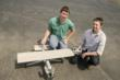 Tyler Pojanowski (left) and David Haberman (right) made aeronautical history with their concrete plane. The other team member on the project not pictured is Seth Adams.