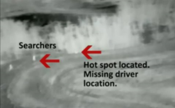 Thermal Image of Searchers and Injured Driver