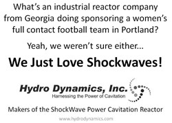 What's an industrial reactor company from Georgia doing sponsoring a women's full contact football team in Portland? Yeah, we weren't sure either...We just love Shockwaves!