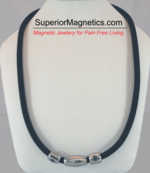 magnetic necklace with carbonized titanium and germanium