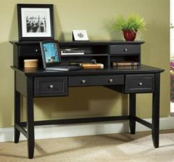 Home Styles 5531-152 Bedford Black Executive Desk and Hutch